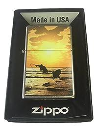 Zippo Custom Lighter - Gone Fishing Sunset Scene Fly Fishing Street Chrome