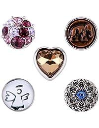 Morella señorías small Click-Button Set 5 pcs botones 12 mm diámetro Lotus elefante guarda y Corazón de cristal