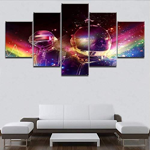 Wuwenw 5 Panels Rahmen Hd Druck Wandkunst Leinwand Malerei 5 Stücke Daft Punk Musik Poster Für Modernes Zuhause Dekorative Wohnzimmer, 16X24 / 32/40 Zoll, Ohne Rahmen (Daft Punk-aufkleber)
