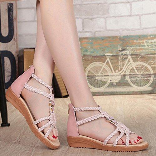 Sandálias Femininas Jiping Sola Rosa Com Estudante Macia Xia Sapatos w1OpqaS1n