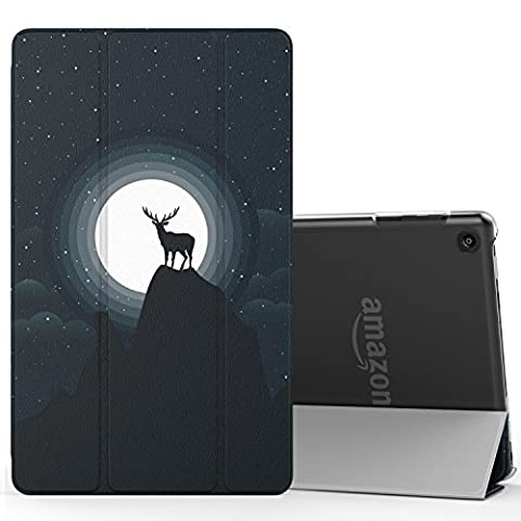 MoKo Case for Fire HD 8 2016 Tablet - Ultra Lightweight Slim shell Stand Cover with Translucent Frosted Back for Amazon Fire HD 8 (Previous 6th Generation - 2016 Release ONLY), Elk in Moonlight