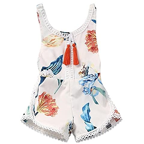 Puseky Newborn Baby Girls Flower Backless Romper Jumpsuit Tassel Clothes Outfits (6-12 Months,