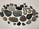30 schöne Flusssteine Kiesel Flusskiesel aus den Alpen Kunst Flusssteine Dekosteine Bergkiesel flach Unikat Naturjuwel grau rot weiß schwarz zum Basteln Bemalen von MEIERLE & Söhne