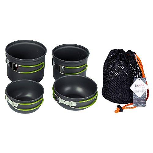 Huijukon 4PCS Picnic Camping Hiking Backpacking Pot Pan Cookware Cooking Set for 2-3 people