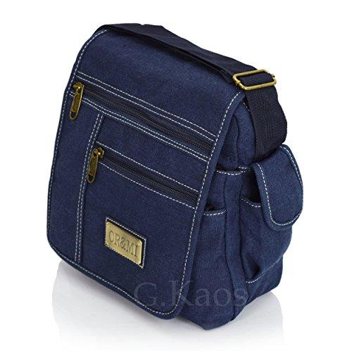 Ormi by G. Kaos–Tasche Herrentasche Schulterriemen verstellbar Stoff Canvas mit Handyfach–Multipocket 3348 Piccolo - Medio 3348-Mil.Green blau