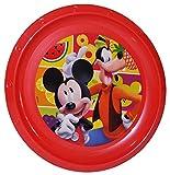 Unbekannt Großer Teller - Kinderteller  Disney Mickey Mouse  - ø 22 cm - aus Kunststoff / Plastikteller Plastik - Geschirr für Kinder - Micky - Mädchen - Speiseteller / Maus Mäuse Goofy - Playhouse