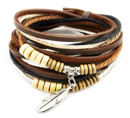 axy TWIC13 Tibet WICKELARMBAND Serie 13! ECHT Leder Armband Leather Bracelet!Surferarmband Schmuck (Modell 1)