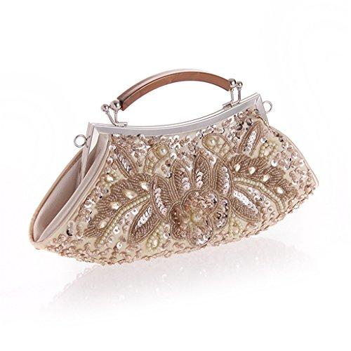 ERGEOB Damen Clutch Perlen Tasche Abendtasche für Event tradizional handmade handtasche Schwarz Aprikose