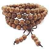 Thajaling 108 Bracelet de Mala de Perles de prière, Bois Naturel