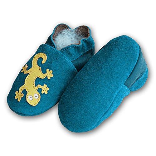 Lederpuschen Hausschuhe Kindergartenschuhe Krabbelschuhe Baby Lederschuhe Schläppchen Lauflernschuhe mit Wildledersohle Gr.19-31 LappaDE Art. 142 Geckos blau Wildleder