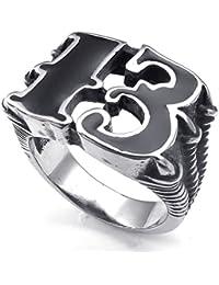 KONOV Joyería Anillo de hombre, Biker Gótico Garra del dragón Halloween, Acero inoxidable, Color negro plata (con bolsa de regalo)