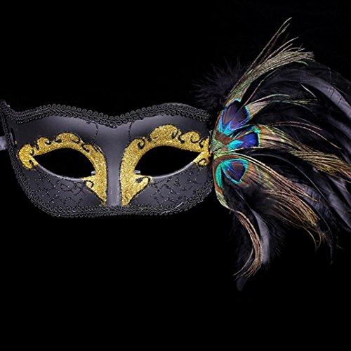 Männer und Frauen Maske künstliche Pfauenfeder halbe Pasta Maske Halloween Prinzessin Maske Requisiten (Halb Maske Mit Pfauenfedern)