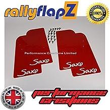 rallyflapZ Guardabarros para Citroen Saxo (1996-2003) Cantidad 4 Rojo Guardafangos Logo Blanco (4mm PVC)