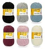 Soft Glitter 6X 100g Sockenwolle Paket Regia, 600g Sockenwolle mit Glitzerfaden Sortiert