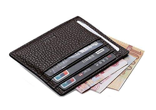 Vicloon Visitenkartenetui Unisex Kreditkartenetui Leder Slim Case Super dünn, Minimalist, mit Geld-Clip (Schokolade Slim)