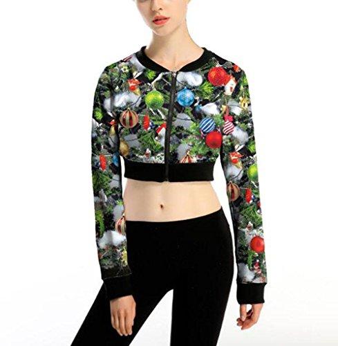 ZFANG Weihnachtsjacke Pullover Dame Blumendruck Slim hohe Taille Reißverschluss Strickjacke Jacke , 1 , (Friedhof Erwachsenen Kostüme Ghost)