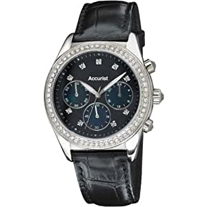 Accurist Women's Quartz Watch with Black Dial Chronograph Display and Black Leather Strap LS410B