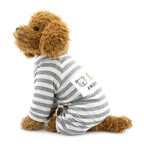 SELMAI Stripe Pajamas for Small Dog Pet Cotton Jumpsuit Doggie