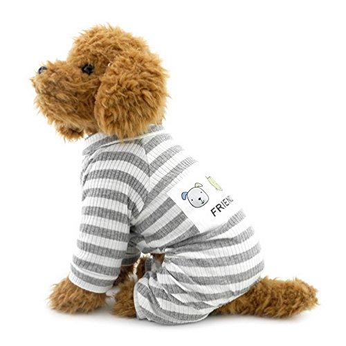 selmai Streifen Outfits für kleine Hunde Baumwolle Schlafanzüge Hund Overall Puppy (Supplies Party Clearance)
