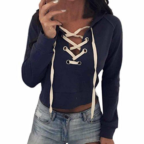 Crop Hood (PAOLIAN Frauen Hoodie Sweatshirt Langarm Bluse Pullover Jumper Crop Sport Mantel Tops (S, Blau))