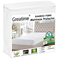 Greatime Mattress Protector Mattress Cover Mattress Pad Premium Bamboo Super Soft Smooth Fabric 100% Waterproof Block Dust Mites Hypoallergenic Anti-Bacteria for kids pets(4 Feet)
