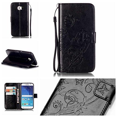 Prägen Blumen-Case, Magnetverschluss Synthetische PU-Leder-Kasten-Abdeckung mit hängenden Seil und Wallet-Funktion für Samsung S6 ( Color : Pink , Size : Samsung S6 ) Black