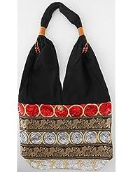 Sac bandoulière, sac besace soie Thai Tricolore brodé séquins rouge