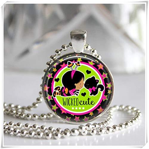 Wicked Cutie Halskette mit Anhänger Glasfliese Silberlünette Schwarz -