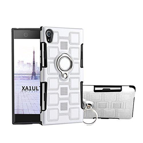 JDDRCASE Handy Zubehör Hüllen, Armour Dual Layer 2 in 1 Schutzhülle mit drehbarem Fingerringhalter Ständer Magnethalterung für Sony Xperia XA1 Ultra (6.0 Zoll) (Farbe : Silber)