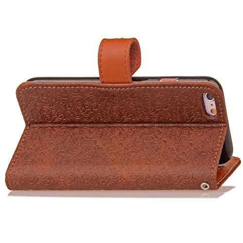 JAWSEU Coque Etui pour iPhone 6/6S 4.7,iPhone 6 Leather Case with Strap,iPhone 6S Etui en Cuir Folio Flip Wallet Cover Case,2017 Neuf Style Femme Homme Up and Down Unlock Holster Rabat Portefeuille ét marron profond*