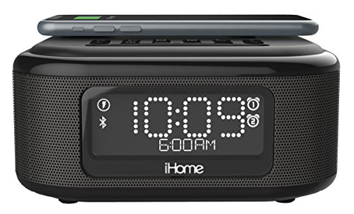 iHome iBTW23 Wireless Charging Bluetooth Alarm Clock with Speakerphone &  USB Charging Port for iPhone X 8/8Plus & More, Black