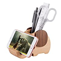 AhfuLife® Wooden Elephant Phone Stand with Pen&Pencil Holder/Pot, Desk Decoration