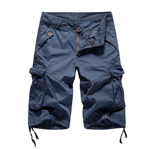 MOIKA Herren Cargoshorts, Sommer Herren Jogginghose Basic Cargoshorts im Klassischen Stil Bermudas Sportshorts Sweatshorts Alltägliche Shorts Casual Shorts(S,Dunkelblau)