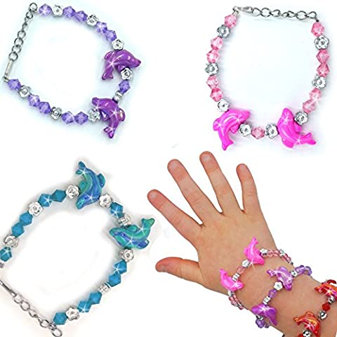 German Trendseller® - 12 x bracelets dauphin┃pour enfants┃en optique cristal┃bijoux┃mélange de couleurs┃ petit cadeau┃l'anniversaire d'enfant┃