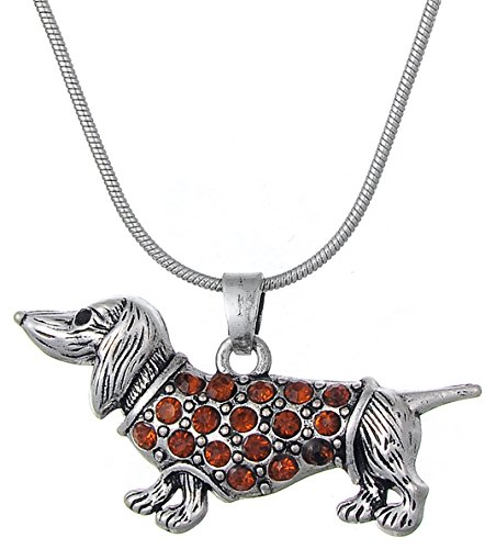 Adorable Orange Crystal Puppy Dachshund Dog Pendant Necklace For Women Girls Gift Jewelry