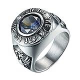 HIJONES Herren 316l Edelstahl Farbige Kubischer Zirkon Siegelring Silber Blau Gefärbt Größe 65