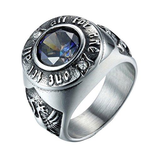 HIJONES Herren 316l Edelstahl Farbige Kubischer Zirkon Siegelring Silber Blau Größe 57
