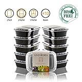 Amazy Meal Prep Container (10er Set | 2 Fächer) – Wiederverwendbare, BPA-Freie Lunch Box zur Vorbereitung und Portionierung von Mahlzeiten (10 Stück à 900 ml)