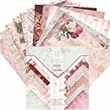 24 Hojas de Paper Pack Scrapbooking Estampado Flores Románticas Vintage para DIY Paper Decorativa...