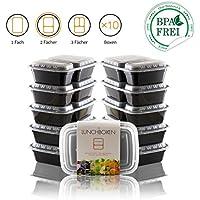 Amazy envases para comida preparada | 2 Compartimentos – Contenedores reutilizables de comida para llevar en porciones.