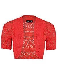 Janisramone mujeres Bolero de las se encogen de punto ganchillo chaqueta tamaño superior 8-24