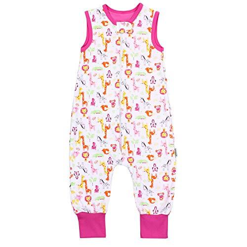 TupTam Unisex Babyschlafsack mit Beinen Unwattiert, Farbe: Safari Rosa, Größe: 104-110