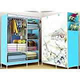 Dreamworld Fancy and Portable Foldable Closet Wardrobe Cabinet Portable Multipurpose Clothes Closet Portable Wardrobe Storage Organizer with Shelves 5.5 Feet Folding Wardrobe Colour as Image