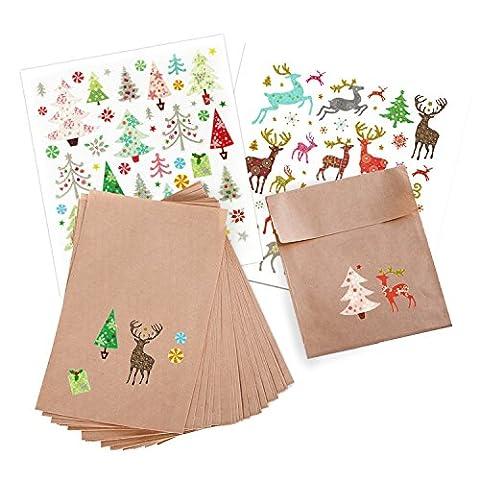 Weihnachtstüten-Set: 25 braune Papiertüten (13 x 18 + 2 cm Lasche) + 2 glitzernden Sticker-Bögen Aufkleber Weihnachtsbäume und Rentiere Weihnachtstütchen Geschenktüten Verpackung Weihnachten