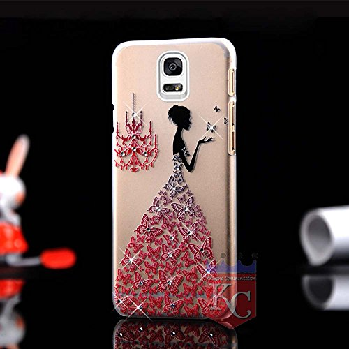 KC Beautiful Girl Wearing 3D Butterfly Wedding Dress Soft Transparent Case Back Cover for Samsung Galaxy Note 3 – Red