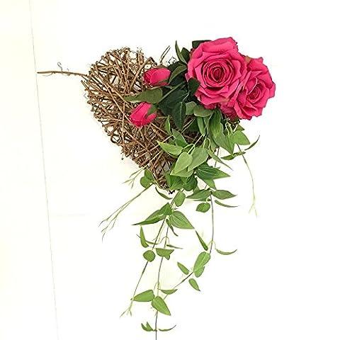 DSAAA Heart-Shaped murs sont décorés de fleurs faux artificielles,rouge