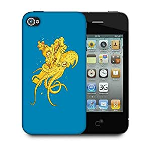 Snoogg Yellow Octupus Designer Protective Back Case Cover For IPHONE 4