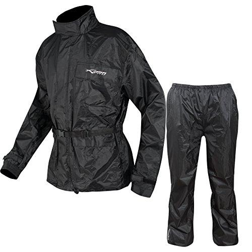 A-Pro Motorrad Regenkombi Regenhose Regenjacke Wasserdicht Regenanzug Schwarz XXL