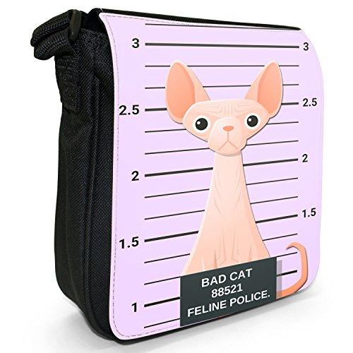 Fancy A Snuggle, Borsa a tracolla donna Gegenüberstellung Polizei pinke Sphynx-Katze