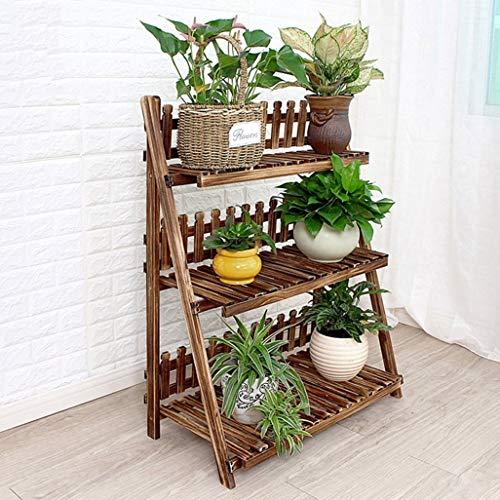 LLYU 3 couches affichage fleur en bois escalier/plante étagère de l'armoire de stockage du plateau de support de pot balcon stand (taille : 70 * 37 * 98cm)